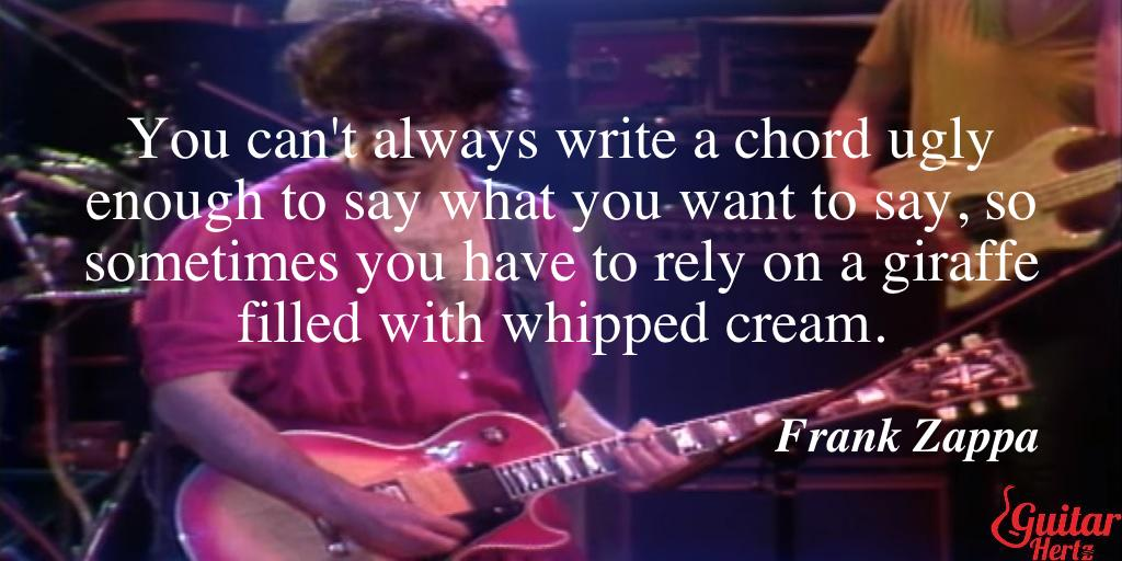 You can't always write a chord ugly enough to say what you want to say, so sometimes you have to rely on a giraffe filled with whipped cream.
